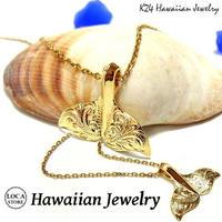 【ハワイアンジュエリー / HawaiianJewelry】 K24 純金 コーティング k24 ペンダント ネックレス プルメリア (gps8781all24k)
