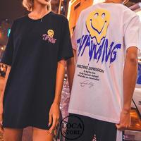 【Nuthink】 3色展開!! ビッグTシャツ(ユニセックス) スマイル ニコちゃん メンズ レディース 大きいサイズ ストリート系 原宿 韓国ファッション (DCT-586447020214)