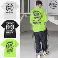 ユニセックス Tシャツ 半袖 メンズ レディース 英字 グラフィティ プリント オーバーサイズ 大きいサイズ ルーズ ストリート TBN-624198713537
