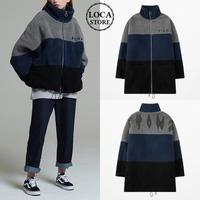 ユニセックス ボアブルゾン 韓国ファッション メンズ レディース ボアジャケット ウール ボア オーバーサイズ ルーズ ラム ストリート 秋 冬 (DTC-606621270224)