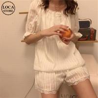 【ルームウェア】 パジャマ 半袖 ショートパンツ フリル 韓国ファッション レディース シャツ + パンツ 上下セット レトロ DTC-637617390274