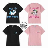 ユニセックス メンズ/レディース Tシャツ 可愛いユニコーンプリント コットン100% ペア ストリート (DCT-592045594263)