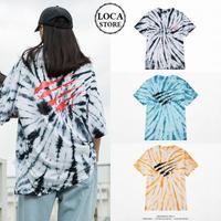 ユニセックス メンズ/レディース タイダイ染め Tシャツ 爪痕 大きいサイズ ストリート系 韓国ファッション (DCT-596900357535)