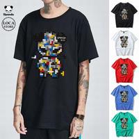 UPANDA 【5カラー】ユニセックス メンズ/レディース 半袖 Tシャツ テトリスパンダ パンダプリント 人気 インスタ ストリート系 (DCT-597811074103)