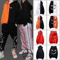 ユニセックス メンズ/レディース パーカー セパレート スマイル バイカラーストリート系 韓国ファッション (DCT-576710383674)