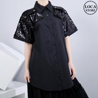シャツ ブラウス スパンコール 半袖 韓国ファッション レディース ラメ トップス 折り襟 大きいサイズ 大人カジュアル 大人可愛い 617762365804
