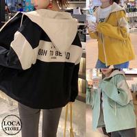 フードブルゾン ジャケット 韓国ファッション レディース バックロゴ ルーズ フードジャンパー ゆったり アウター シンプル 大人カジュアル 韓国 (DTC-599990122962)