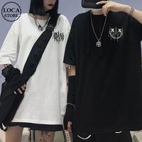 ユニセックス Tシャツ 半袖 ドロップショルダー ワンポイントプリント オーバーサイズ 韓国ファッション メンズ レディース トップス ストリートファッション DTC-620416043566