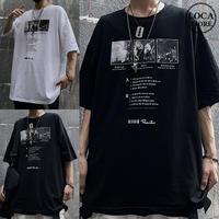 ユニセックス Tシャツ 半袖 メンズ レディース ラウンドネック 英字 フォト プリント オーバーサイズ 大きいサイズ ルーズ ストリート TBN-612871060641