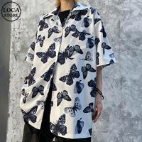 ユニセックス バタフライ シャツ 蝶々 半袖 オーバーサイズ 韓国ファッション メンズ レディース 柄シャツ トップス カジュアル ストリート ファッション DTC-616131821802