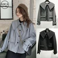 大きい襟 ジャケット 袖ベルト 韓国ファッション レディース ビックカラー ショートコート シングルブレスト 長袖 ゆったり 大人可愛い ガーリー DTC-627105316886