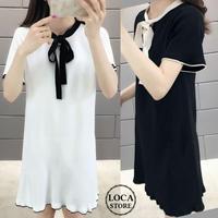 レディース ボウタイ ミニワンピース フレアワンピース リボン フェミニン ガーリー 韓国ファッション オルチャンファッション (DCT-591701186570)