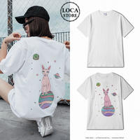 ユニセックス メンズ/レディース Tシャツ 猫 スフィンクス バックプリント ビックプリント ゆったり コットン100% ストリート (DCT-574149925428)