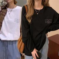 Tシャツ 2カラー 長袖 ルーズ 韓国ファッション レディース トップス 英字プリント シンプル ラウンドネック オーバーサイズ カジュアル かわいい 626233161455