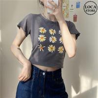 Tシャツ 半袖 袖切りっぱなし ショート丈 フラワー グレー 韓国ファッション レディース 花 ガーリー DTC-614247121002_gr