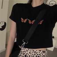 バタフライ Tシャツ 半袖 ショート丈 ブラック 韓国ファッション レディース 蝶 黒 かわいい ガーリー DTC-615764921313_bk