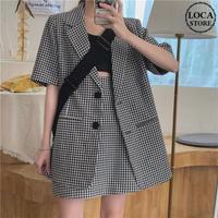セットアップ ギンガムチェック テーラードジャケット + スカート 韓国ファッション レディース チェック柄 半袖 ハイウエスト 大人可愛い ガーリー DTC-618192892170