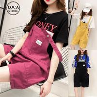 レディース デニムサロペット ショートパンツ オーバーオール オールインワン ゆったり 韓国ファッション オルチャン (DCT-567388383727)