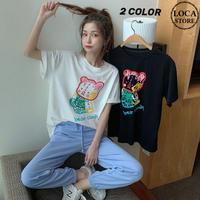 Tシャツ 半袖 ベアー クマ 韓国ファッション レディース トップス かわいい カジュアル シンプル ガーリー DTC-616199868277