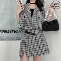 セットアップ チェック柄 ジャケット + スカート 韓国ファッション レディース セット ギンガムチェック 半袖 ハイウエスト 大人可愛い ガーリー DTC-622804335860
