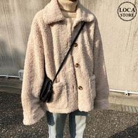 韓国ファッション ショートコート ジャケット もこもこ シングルブレスト コート 大きいポケット 大人カジュアル 秋 冬 オルチャン 韓国 レディース (DTC-603700733049)