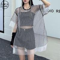 シースルー tシャツ オーバーサイズ 半袖 韓国ファッション レディース セクシー カジュアル 可愛い ガーリー セクシー DTC-643999812558
