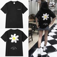 ユニセックス 半袖 Tシャツ メンズ レディース 英字 一片の花 フラワープリント バックプリント オーバーサイズ 大きいサイズ ルーズ ストリート TBN-590944428784