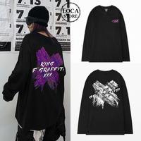 ユニセックス 長袖Tシャツ ×ペイント 韓国ファッション メンズ レディース Tシャツ バツペイント 長袖 オーバーサイズ ストリート DTC-610859198983