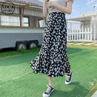 花柄 フィッシュテールスカート 裾フリル ハイウエスト ロング丈 韓国ファッション スカート レディース 大人可愛い ガーリー フェミニン DTC-638222921272