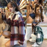 パーカー ネルシャツ 韓国ファッション レディース チェック柄 レイヤード 重ね着風 フード脱着 厚手 アウター 秋冬 カジュアル (DTC-601523687618)