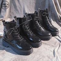 マーティンブーツ レースアップ 韓国ファッション レディース ブーツ 編み上げ レディースブーツ ラウンドトゥ DTC-601074214577