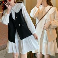 セットアップ ワンピース + ベスト ルーズ 長袖 韓国ファッション レディース 2点セット Aラインスカート かわいい ガーリー フェミニン DTC-624602746823