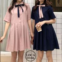 レディース ワンピース プリーツスカート 薄手 ボウタイ リボン ゆったり ガーリー 韓国ファッション (DCT-591685926711)