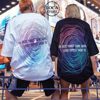 【2カラー】ユニセックス メンズ/レディース バックプリント Tシャツ 半袖 ロゴ 幾何学 ストリート ペア 韓国ファッション (DCT-589666928349)