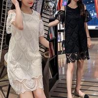 レディース 刺繍 レース ワンピース チュニック 半袖 シースルー ラウンドネック フェミニン 韓国ファッション (DCT-591671128668)
