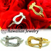 ハワイアンジュエリー リング 指輪 メンズ レディース ペア 馬蹄 ホースシュー サージカル ステンレス 金属アレルギー対応 シルバー ゴールド インスタ (grs8650)