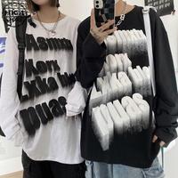 ユニセックス Tシャツ 長袖 ロンT レタープリント プルオーバー オーバーサイズ 韓国ファッション メンズ レディース 大きめ カジュアル ストリートファッションDTC-654243924367