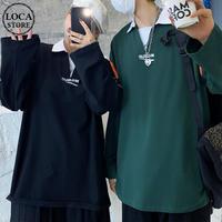 ユニセックス バイカラー ポロシャツ 長袖 オーバーサイズ 韓国ファッション メンズ レディース トップス ルーズ カジュアル ストリートファッション DTC-653571995078