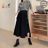 不規則デザイン スカート スプリットスカート アシンメトリー 韓国ファッション レディース ロングスカート アシメ Aライン バックル ハイウエスト ガーリー DTC-623466402690