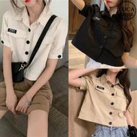 シャツ ブラウス 折り襟 韓国ファッション レディース トップス 半袖 ゆったり 半袖シャツ ミリタリー シャツジャケット 大人可愛い ガーリー DTC-620619638614