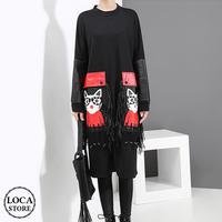 タッセル付き ワンピース 韓国ファッション レディース 大きなポケット ネコ 猫 長袖 膝丈 レトロ 秋 冬 (DTC-601271037757)