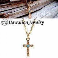ハワイアンジュエリー 十字架 ターコイズ ネックレス メンズ レディース スクロール サージカル ステンレス 金属アレルギー対応 イエローゴールド インスタ (gps81059)