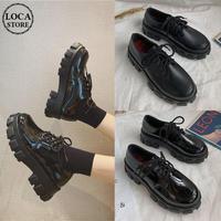 レースアップ 厚底シューズ グロス & マット 韓国ファッション レディース ローファー 靴 厚底 歩きやすい 美脚 ラウンドトゥ (DTC-601263186091)