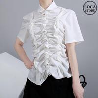 ギャザー ブラウス シャツ 半袖 フリル 折り襟 韓国ファッション レディース トップス 大きいサイズ 大人カジュアル 大人可愛い 617835680238