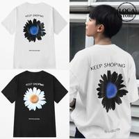 ユニセックス 半袖 Tシャツ メンズ レディース 英字 一片の花 フラワープリント バックプリント オーバーサイズ 大きいサイズ ルーズ ストリート TBN-599536487259