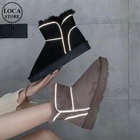 ムートンブーツ ショートブーツ 韓国ファッション レディース 反射帯 もこもこ カジュアル かわいい ブーツ 歩きやすい (DTC-606180197512)