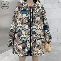 ユニセックス パーカー くまちゃん ベアー ジップアップ 長袖 オーバーサイズ 韓国ファッション メンズ レディース カジュアル ストリートファッション DTC-653614011445