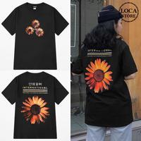 ユニセックス 半袖 Tシャツ メンズ レディース ハングル語 ひまわり フラワープリント バックプリント オーバーサイズ 大きいサイズ ルーズ ストリート TBN-599536027798