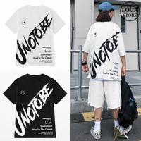 ユニセックス Tシャツ 半袖 メンズ レディース ラウンドネック 英字 バックプリント オーバーサイズ 大きいサイズ ルーズ ストリート TBN-620295284409
