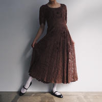 1940s Brown Floral Lace Dress